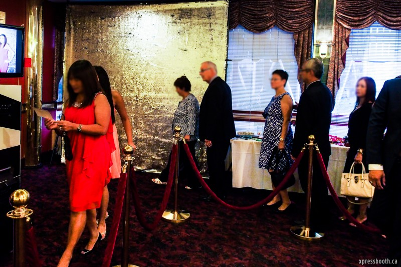 Brass stanchions and Red Velvet rope Photo booth