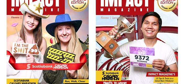 Green Screen Photo booth - Magazine cover design for IMPACT Magazine at the Calgary Marathon Expo
