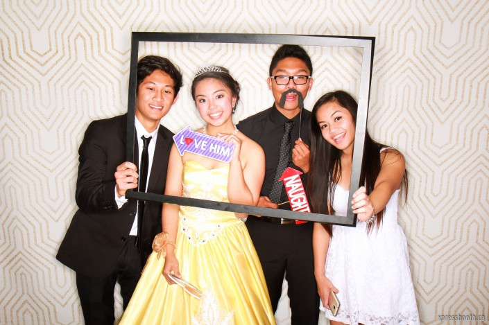 The debutante and her friends in a frame