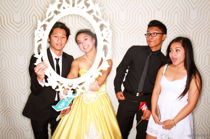 Debutante with her escort and friends