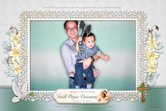 Father and son having fun in the photo booth