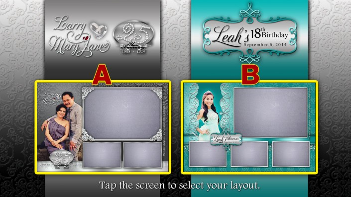 25th Silver Wedding Anniversary and 18th Birthday Debut Double Photo booth layout