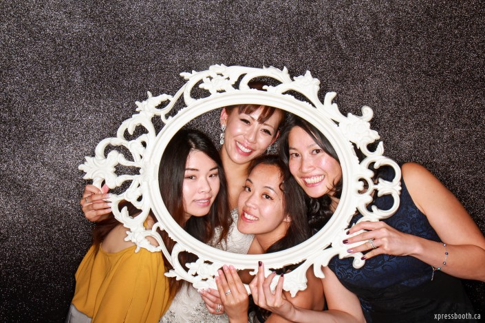 Bride and her 3 friends inside elegant white frame