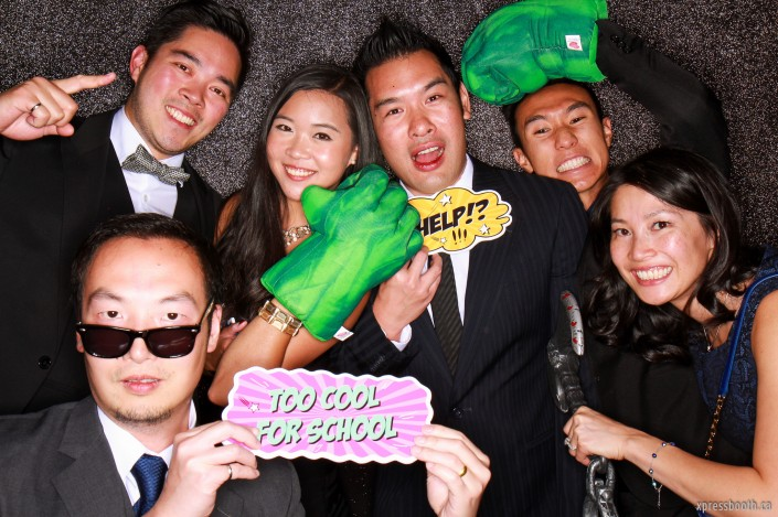 Friends getting wacky in the photo booth
