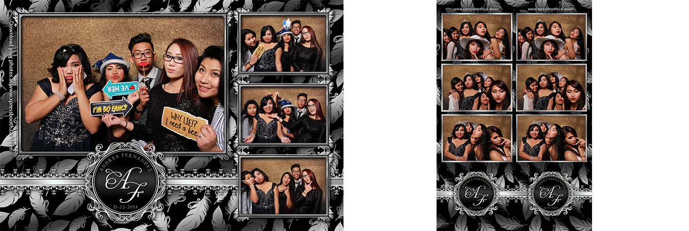 Photo booth pictures from Andrea's 18th Birthday Debut at the Inglewood Community Hall in Calgary