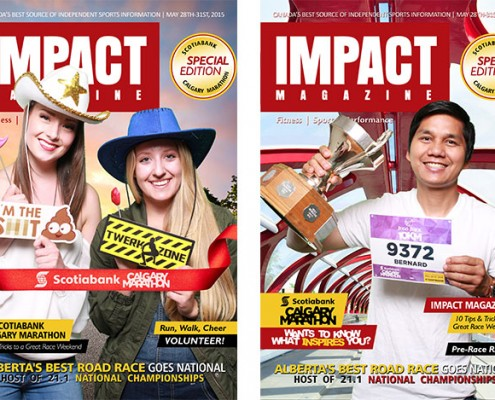 Green Screen Photo booth - Magazine cover design for IMPACT Magazine at the Calgary Marathon Expo