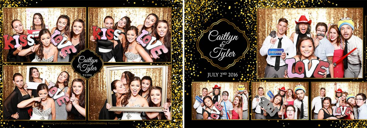 Black and Gold Sequins Photo Booth at Caitlyn and Tyler's Wedding