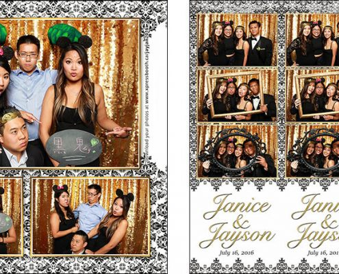 Photo Booth Pictures from Janice and Jayson's Gold, Black, and White Wedding in Downtown Calgary