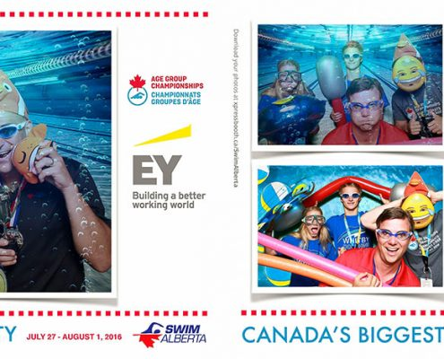 Ernst & Young sponsored photo booth at the Canadian age group championships at the Talisman Centre in Calgary