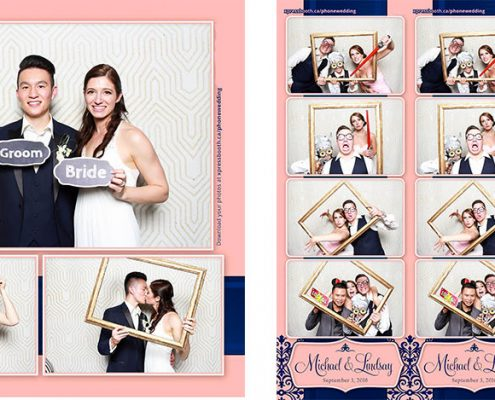 Photo Booth at Michael and Lindsay's Pink and Navy Blue Wedding at the Metorpolitan Centre in Calgary