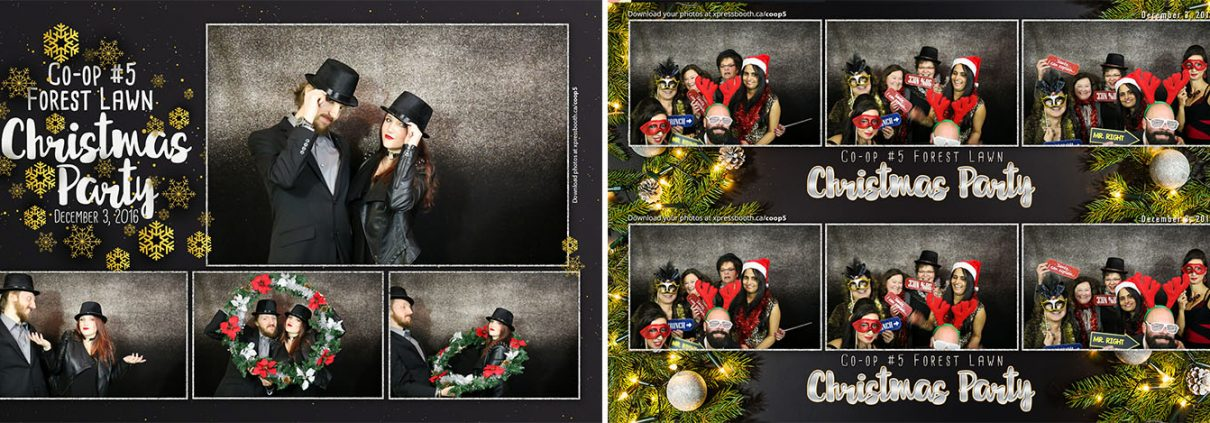 Black , Silver, and Gold Glitter Christmas Party Photo Booth at the Forest Lawn Legion
