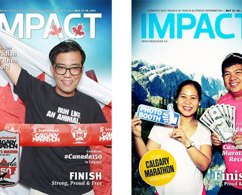 IMPACT Magazine at Calgary Marathon Expo 2017 - Canada 150 Coast-to-Coast theme, Boomerang Animated Videos, Magazine-style photos using Green Screen technology